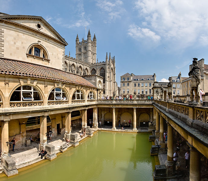 History of Steam Roman Baths in Bath Spa, England   July 2006