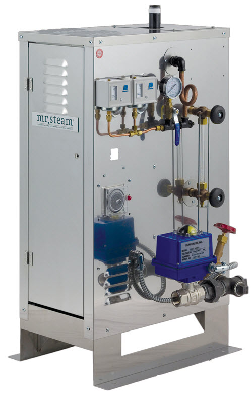 For continuous use steam rooms or ones larger than 675 cubic feet, opt for MrSteam's CU series of pressurized boilers.