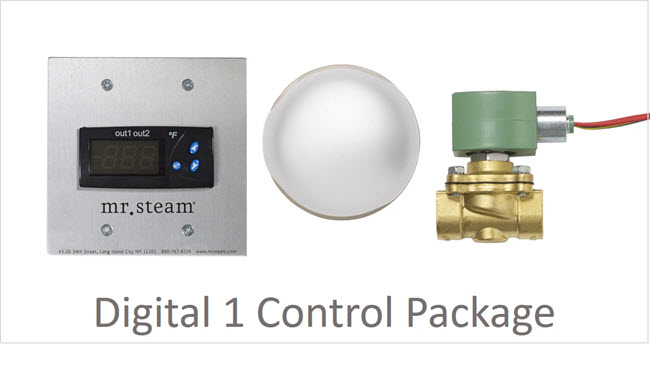 The commercial steam bath control package consists of the digital one temperature control and sensor, steam solenoid, and steam head with steam deflector.