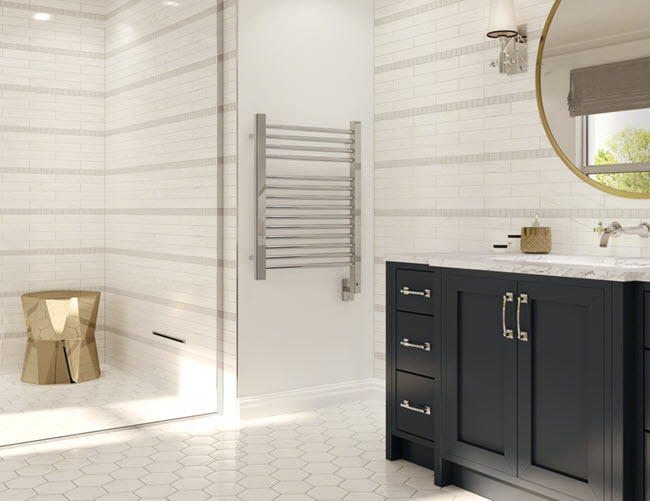 Keep toes and hands warm with heated floors and towel racks.