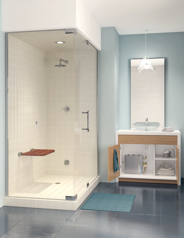 Adding a shower seat can help anyone who finds it difficult to stand.
