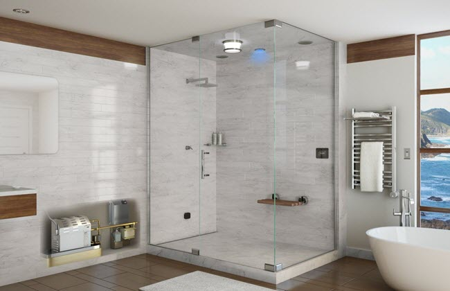 Steamrooms, on the other hand, are constructed from ceramic tiles, glass blocks, or other waterproof, nonporous materials which are conducive to a moist environment.