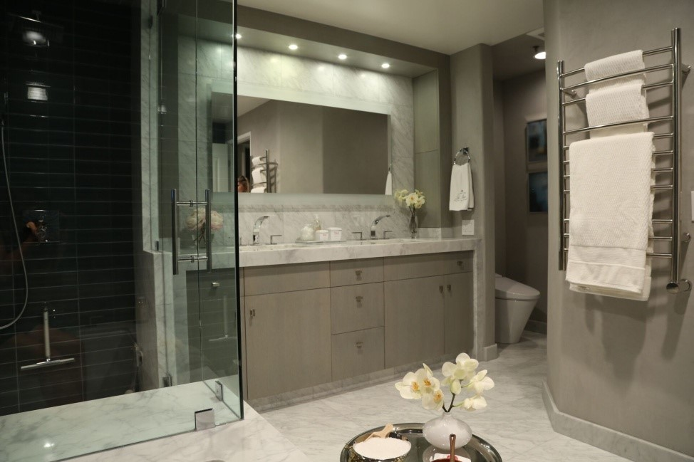 Mrs. Steam's exquisitely designed master bathroom