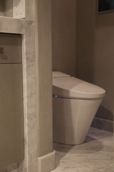 The DXV smart toilet that nestles in a privacy niche in her master bath
