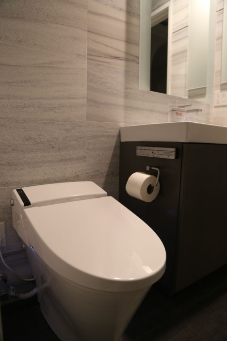 The streamlined design of the DXV smart toilet