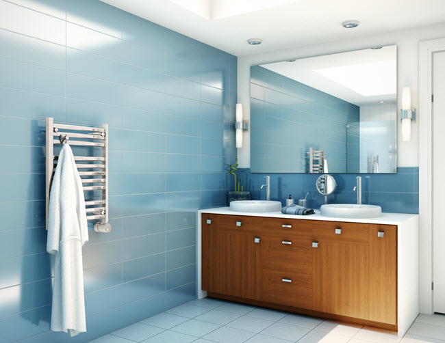 Placing your bathing facilities against the furthest wall maximizes the space.
