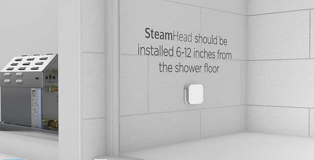 The steamhead should be installed 6-12 inches from the shower floor.