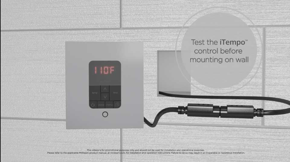 Turn the power supply on to test the iTempo control before mounting it permanently on the wall.
