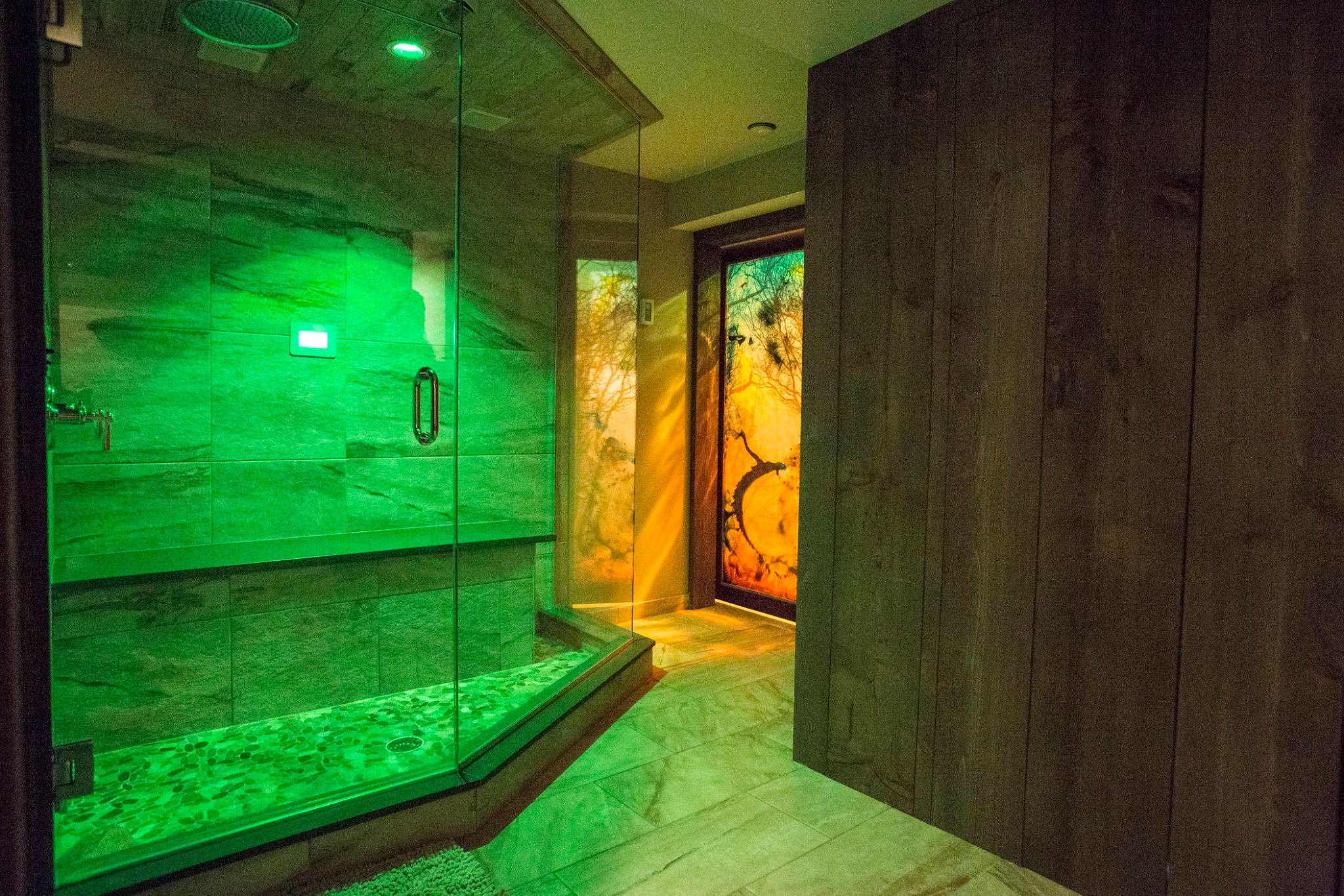 Bring color into your personal spa experience with green ChromaSteam®.