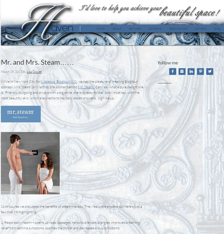 44 benefits of steam bathing: Mr. and Mrs. Steam by BlogTour NYC blogger Lisa Goulet
