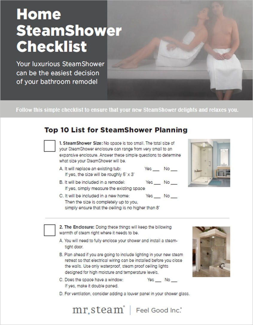 Download the Steam Shower Planning Checklist!