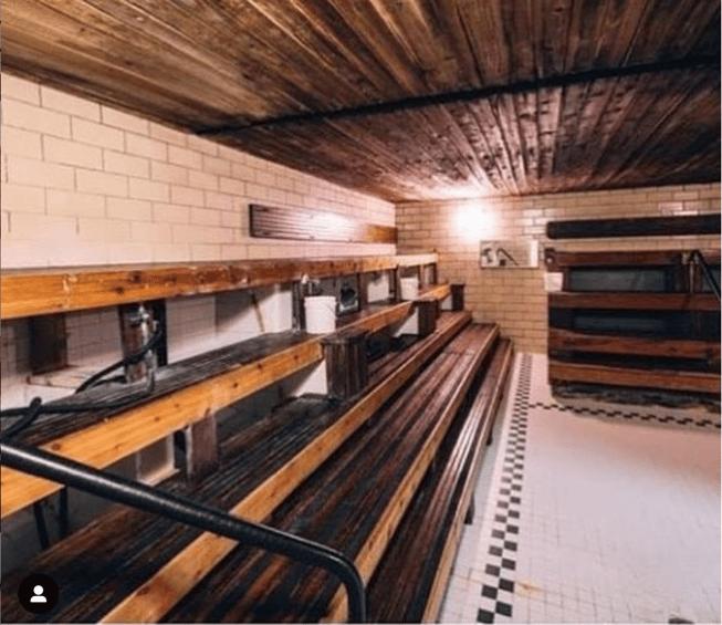 Inside historic steamroom