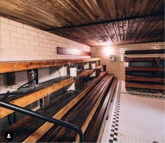 Inside historic steamroom