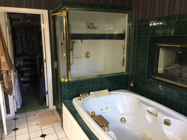 Early 80s brassy bathroom with MrSteam steam shower