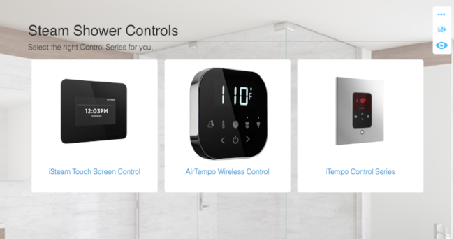 Select the Steam Shower Control You Prefer.