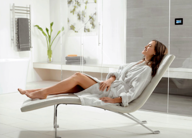 The key to relaxation? A 20-minute steam shower should do the trick