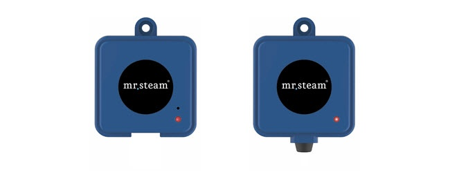 A small transmitter connects to your router, and another to any MrSteam E-Series generator