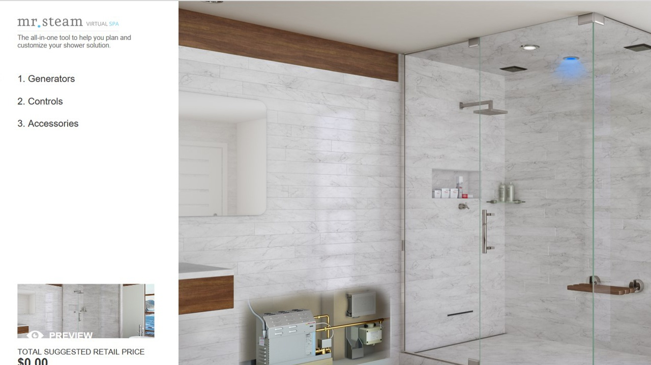 The VirtualSpa helps users explore and understand the many steam shower options available to them.