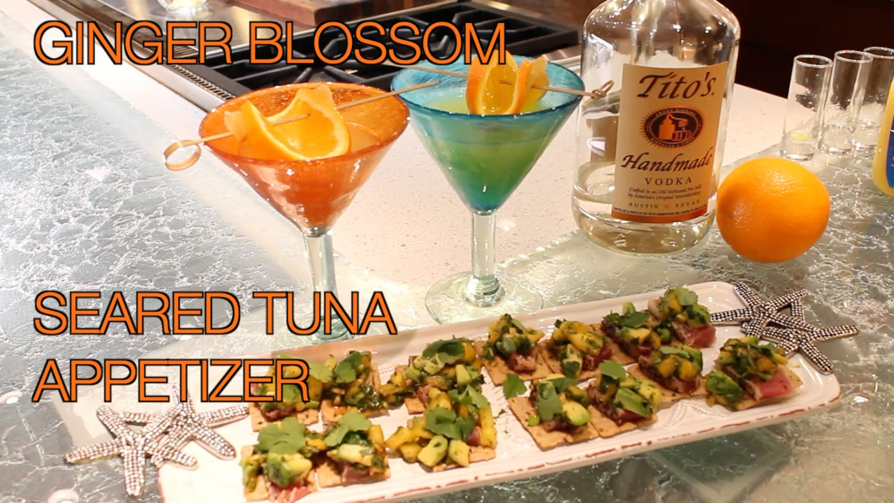 Ginger Blossom cocktail and seared tuna appetizer - healthy lifestyle