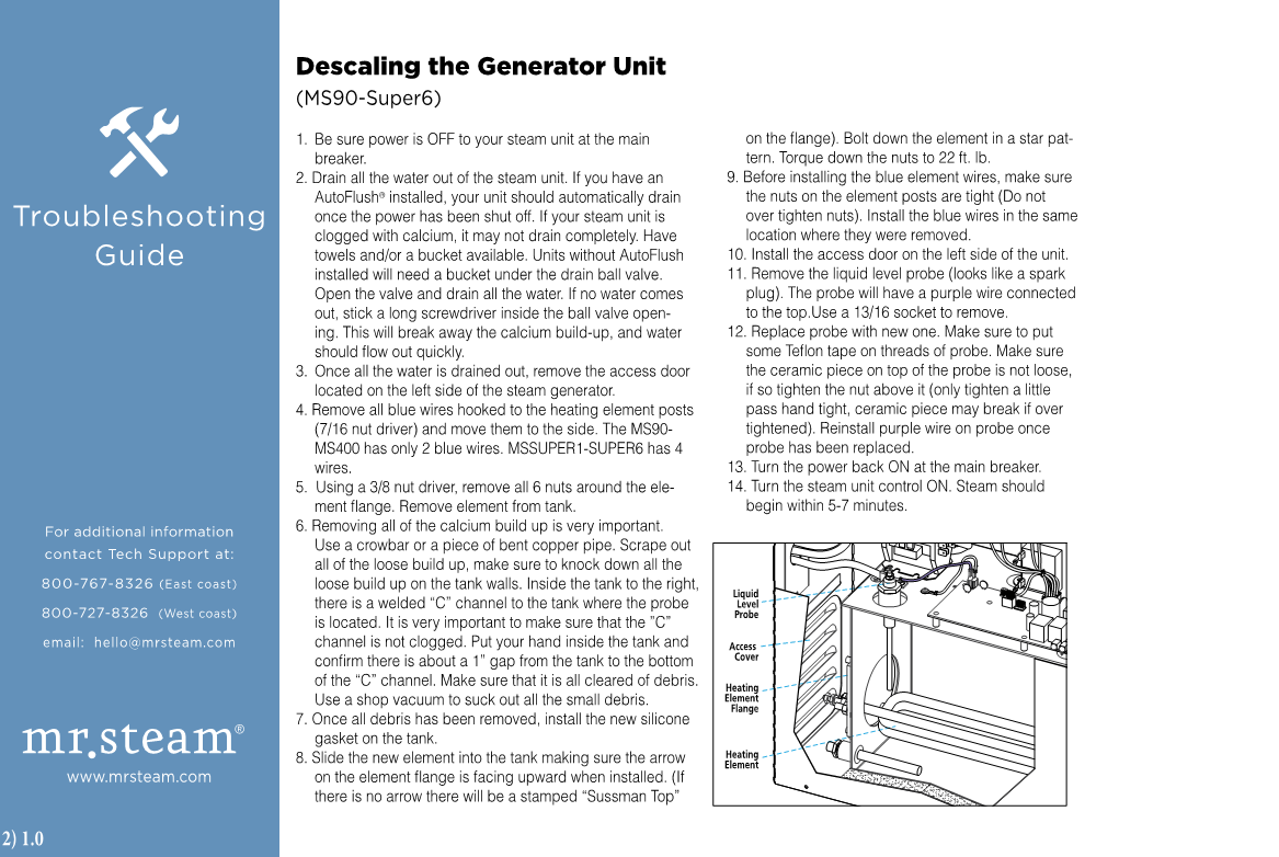 Troubleshooting guide for descaling your steam generator.