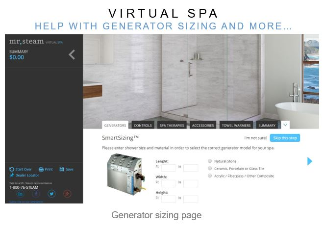 The Virtual Spa will help with generator sizing and more