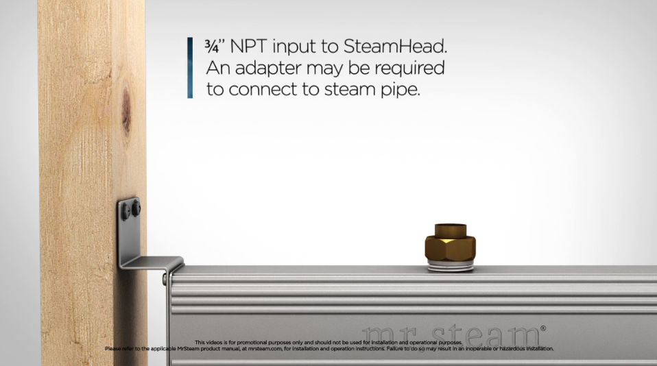 The Linear SteamHead is ideally installed flush to the wall